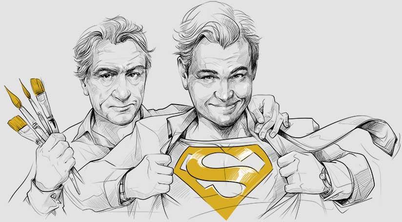 Grafik z żółtymi pędzlami i projektant z logo Supermana na piersi