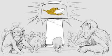 Grupa małp obserwująca nowoczesne logo banana