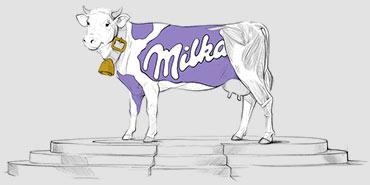 Logo firmowe Milki z podkreślonym kolorem fioletowym