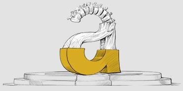 Litera A pokolorowana do połowy - proces tworzenia logo firmy
