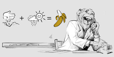 Małpa rozmawiająca przez telefon i proces tworzenia, na który składa się projektowanie logo