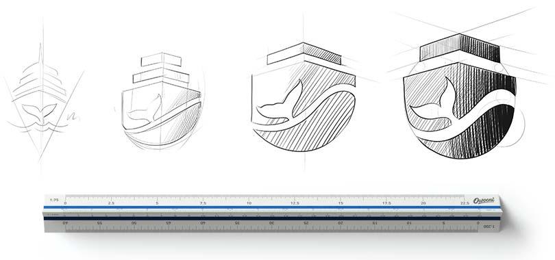 Szkice przedstawiające proces projektowania logo