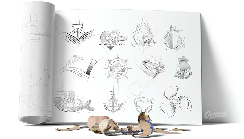 Szkice przedstawiające wzory logo firmy