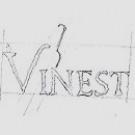 Szkic ukazujący proces tworzenia logo Vinest.